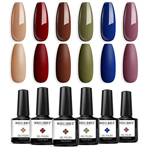 Gel Nail Polish Nude Red Brown Classic Blue Holiday Gel Polish 6 Colors 10 ML 0.34 OZ Soak Off Fall Winter Color Nail Gel Polish with Beauty Gift Set Box for Nail Starters Home Use by Modelones