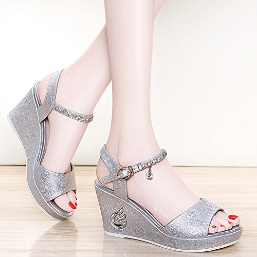 Sandals Feifei Women's Shoes Summer PU Material Fashion Comfortable Thick Bottom Non-Slip Gold Silver Optional (Waterproof Table: 2CM, with High: 8CM) Silver
