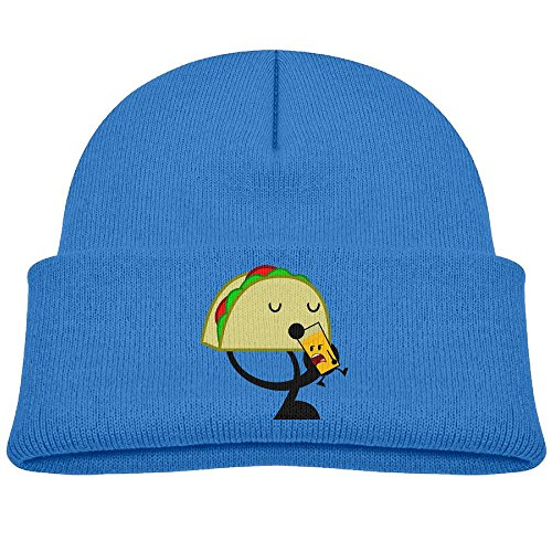 Hinanqugu Kids Taco Drinks Unisex Winter Warm Knit Hat Cute Soft Stretch Lined Beanie Cap RoyalBlue
