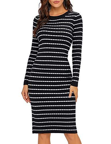 Lookbook Store Women's Casual Crew Neck Knit Sweater Stripe Bodycon Pencil Dress Black Size L (Black And White Striped Midi Bodycon Dress)