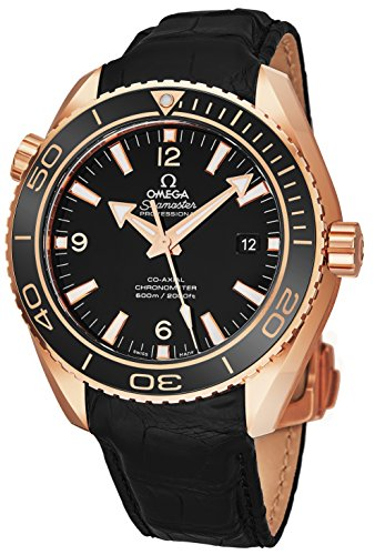 Wrist Omega Watch Automatic (Omega Seamaster Planet Ocean 600M Mens Rose Gold Dive Watch Automatic - 42mm Black Face with Luminous Hands Sapphire Crystal Diving Watch - Swiss Made Black Leather Band Waterproof Diver Watch for Men)