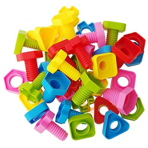 Ireav 20Pairs Screw Building Blocks Plastic Insert Blocks Nut Shape Toys for Children Educational Toys Scale Models by Ireav