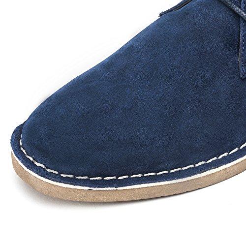 Ginocchioiman Mens Classico In Pelle Scamosciata Stivali Chukka Desert Storm Oxford Scarpe Blu