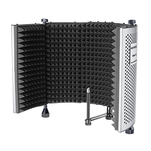Neewer NW-5 Foldable Adjustable Portable Sound Absorbing Vocal Recording Panel, Aluminum Acoustic Isolation Microphone Shield with High-Density Foam, Non-slip Feet for Stand Mount or Desktop Use (Mic Recording Ambient)
