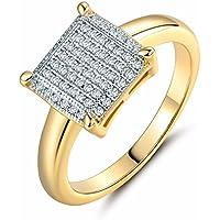 Siam panva 18k Multi-Tone Gold Pave-Setting white round Topaz womens wedding ring Sz6-Sz9 (9)