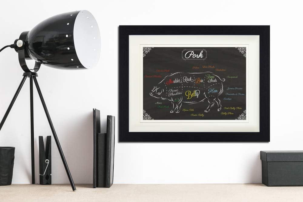 Kunstdruck Poster Im Bilderrahmen 80 x 60 cm Teilst/ücke Vom Rind Gerahmtes Bild Mit Edlem Passepartout 1art1 Kochkunst Wand-Bilder