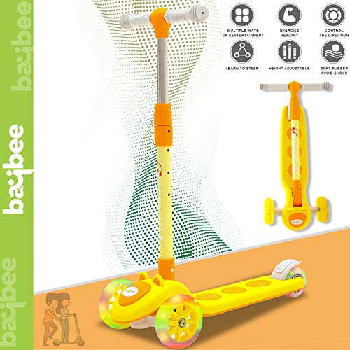 Baybee Rodeo Skate Scooter for Kids Toddlers 3 LED Wheels Lightweight-Folding Kick Kids Scooty Scooter Tricycle for Indoor&Outdoor Fun with Brake Cycle for Kids with Adjustable Height Age 3-11 (Yellow) Price & Reviews