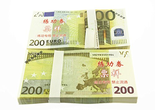 - Euro $200X100 Pcs Total $20,000 Dollar Currency Props Money Bills Real Looking New Style Copy Double-Sided Printing - for Movie, TV, Videos, Advertising & Novelty