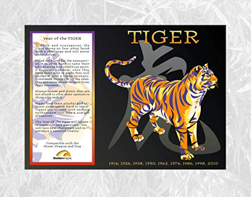 Goldenwave Creations Asian Oriental Chinese Zodiac Poster Year of The Tiger: 1926, 38, 50, 62, 74, 86, 98, 2010