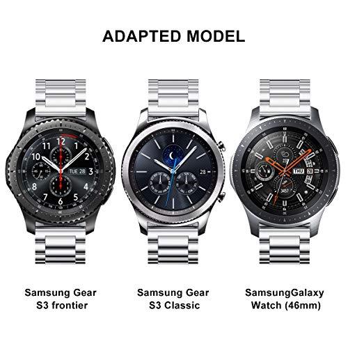 V-MORO Correa para Samsung Gear S3, 22mm, Acero Inoxidable, Reemplazo de Banda tipo Brazalete para Reloj Gear S3 Frontier y Gear S3 Classic Smart ...