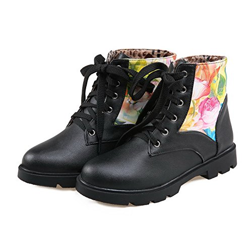 Low Assorted Heels PU Women's top Black Color Lace Boots AgooLar Low up YZn86O64q