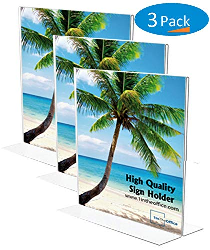 (1InTheOffice Vertical Stand-Up Sign Holder 8.5 x 11