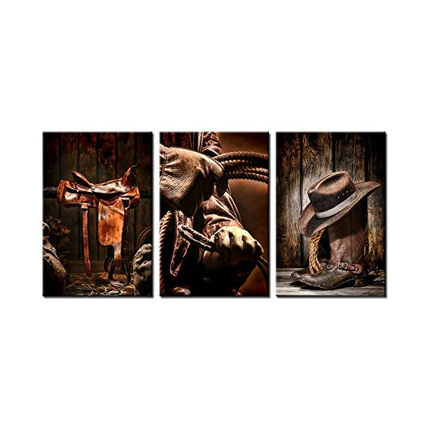 Biuteawal 3 Pieces Canvas Prints American West Rodeo Cowboy Wall Art Painting Brown Straw Hat On Leather Rancher Roper Boots Picture On Canvas Vintage Artwork Stretched For Home Office Decoration Giftsandwish