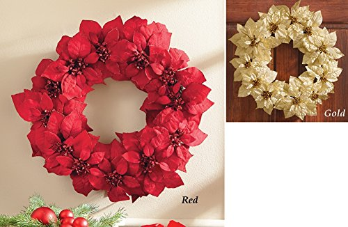 Glittery Christmas Poinsettia Wreath Gold