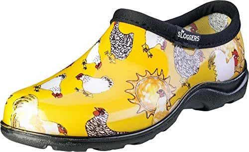 Sloggers 5116CDY09 Chicken Print Collection Women's Rain & Garden Shoe, Size 9, Daffodil Yellow