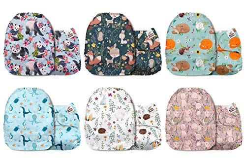 Mama Koala One Size Baby Washable Reusable Pocket Cloth Diapers 6 Pack with 6 One Size Microfiber Inserts A Day On The Farm