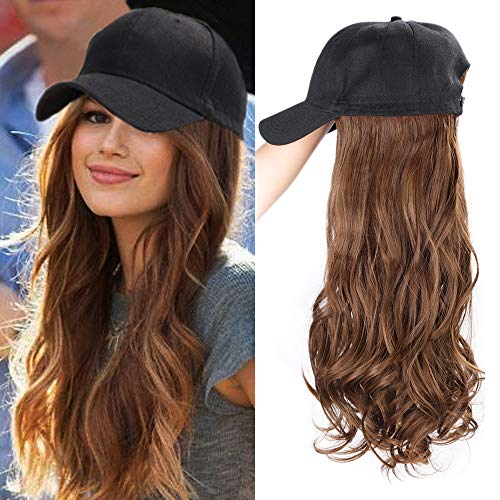 ENTRANCED STYLES Baseball Cap with Hair Synthetic Synthetic Hair With Attached Black Hat with hair Long Wavy Hair Extensions for Women Daily Party Use(8/30#)