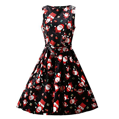 CUCUHAM Women Christmas Print Pin Up Swing Lace Party Panel Dress(Black ,X-Large) ()