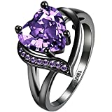 AWLY Women 18k Black Gold Double Heart Design Purple CZ Ring Round Pink Stone Wedding Band