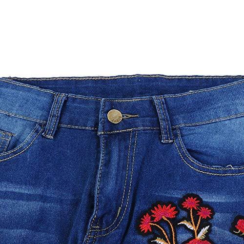 Stretch Huixin Alta Lápiz De Vaqueros Bordado Chern Blau Elásticos Las Mujeres Bluemn Pantalones Holes Mezclilla Cintura Ripped With YarCaxqUw
