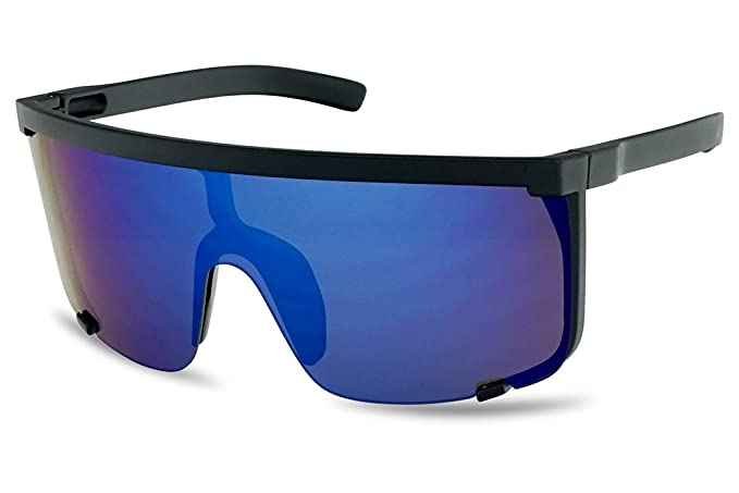 5d805767b0 Amazon.com  SunglassUP Oversized 150mm Super Shield Mirrored Lens  Sunglasses Retro Flat Top Matte Black Frame (Matte Black Frame
