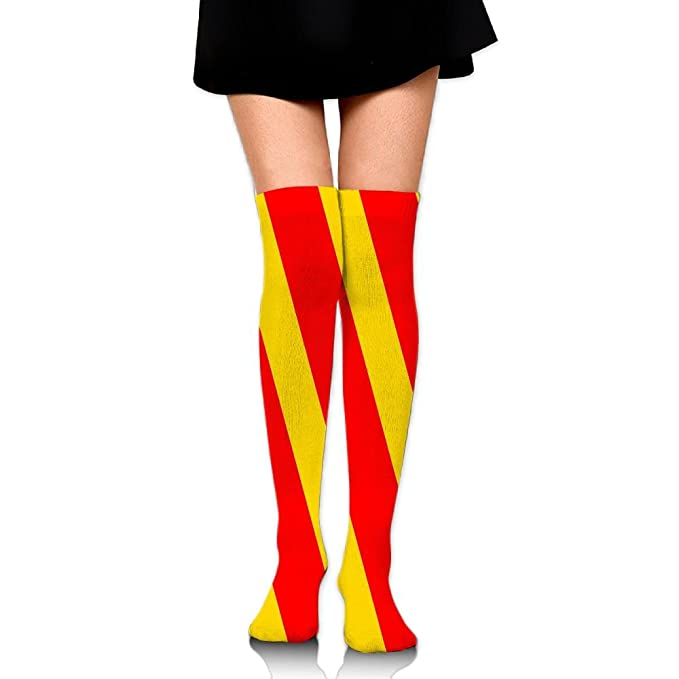 bfd4c2915ecf8 Women Crew Socks Thigh High Over Knee Yellow Red Stripes Dress Legging  Casual Compression Stocking at Amazon Women's Clothing store: