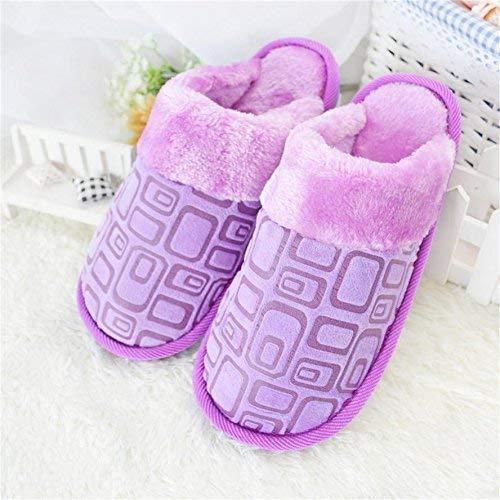 Purple JaHGDU Ladies Casual Fall and Winter Warm Slipper Indoor Home Villus Cotton Printed Pattern High Wear Resistance Warmth Slip Slippers