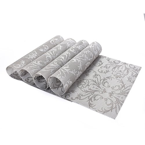 OZCHIN Placemats Dining Kitchen Table Non-slip Insulation Placemat Washable Table Mats Set of 4 Silver by OZCHIN (Image #1)'
