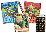 Teenage Mutant Ninja Turtle Folders Spiral Notebook Stickers and Pencils 8 Piece Back To School Bundle