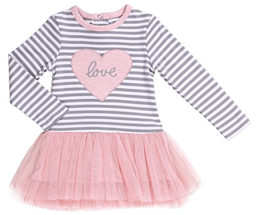 6 Pink Hearts (Asher and Olivia Baby Girl 1-Piece Grey Striped Long-Sleeve T-Shirt With Rose Mesh Tutu, Size 6-9 Month, Little Girl Dress Outfit Is Perfect For Birthday, Home, Party.)