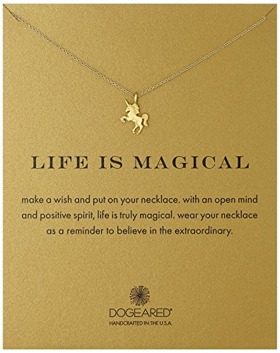 "Dogeared Reminders- ""Life Is Magical"" Gold Dipped Unicorn Charm Necklace, 16″+2″ Extender"