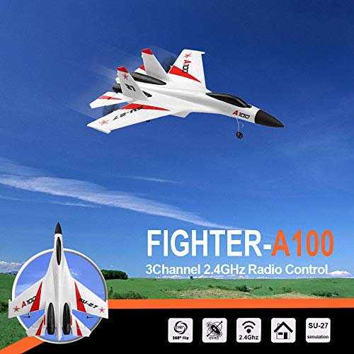 (Philohewen 3CH Remote Control Airplane A100 SU-27 3CH 2.4G RC EPP Glider Plane with Propeller)