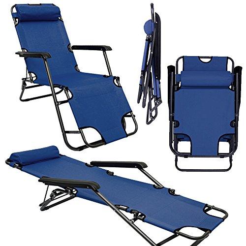 Campingstuhl Liegestuhl Freizeitliege Sonnenliege Strandliege Campingliege Klappliege Liege 153cm   Dunkelblau