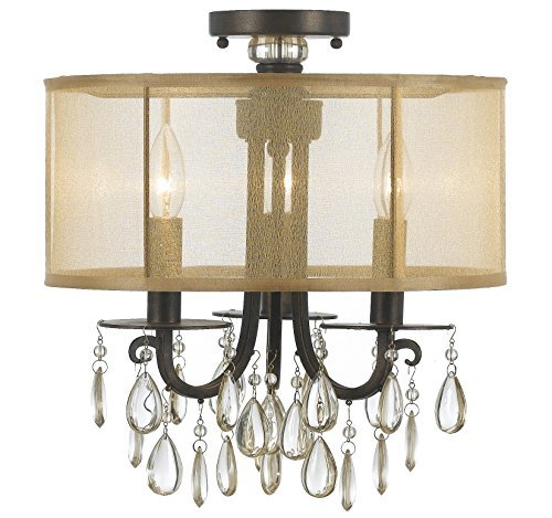 Crystorama 5623-EB_CEILING Hampton 3-Light Semi-Flush with Gold Shimmer Fabric Shade and Etruscan Crystal Drops, English Bronze Finish by Crystorama Eb Etruscan Bronze Finish