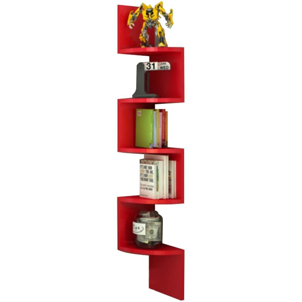 ZXPzZ フローティングウォールシェルフセクター多層無垢材収納ラックコーナーラック扇形本棚隔壁ラック (色 : 赤) B07RLKWMLN 赤