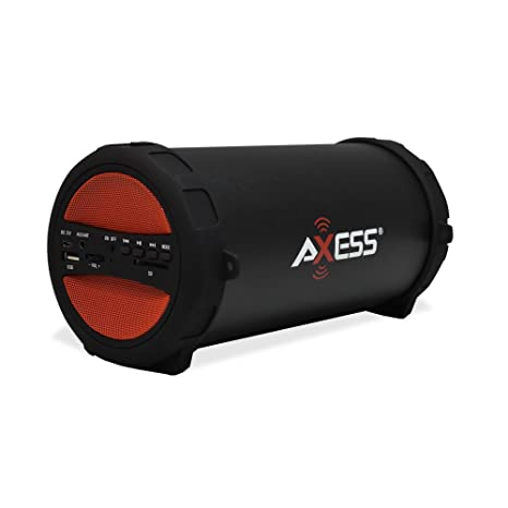 AXESS SPBT1041 Portable Thunder Sonic Bluetooth Cylinder Loud Speaker with  Built-In FM Radio, SD Card, USB, AUX Inputs in Red