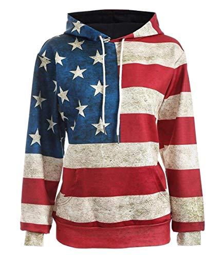Miaohao Sudaderas con capucha de la bandera de los EEUU ocasionales de los hombres de las sudaderas con capucha (Color : 1,...