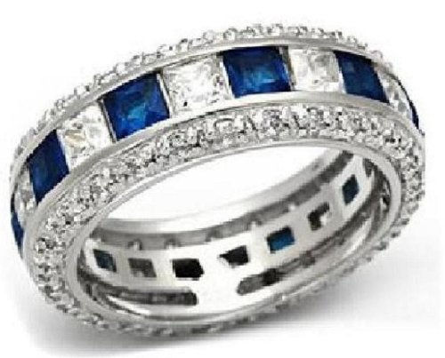 Sterling Silver Anniversary Wedding Band Ring Blue Simulated Sapphire Size 9 ()
