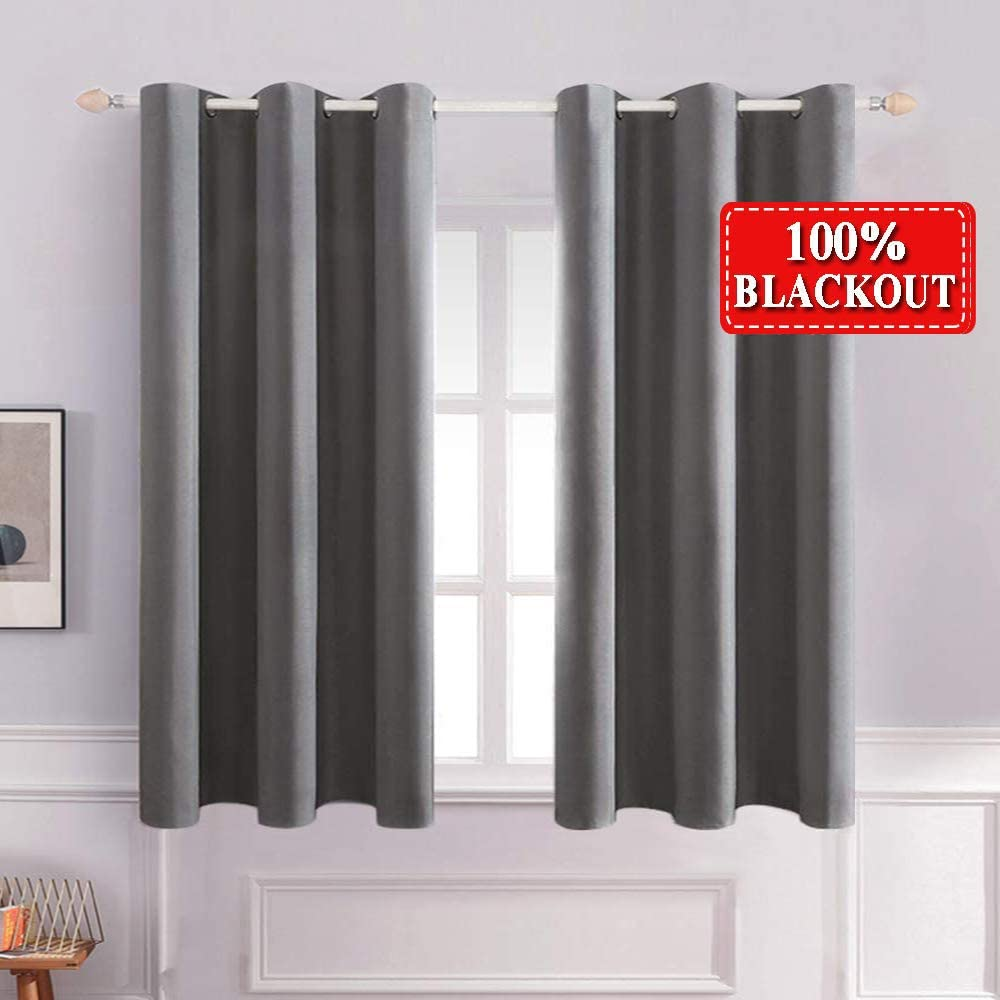 MIULEE Grommet 100% Blackout Curtains for Bedroom Small Window Thermal Insulated Light Blocking Drapes for Living Room Darkening 2 Panels 42 x 63 Inches Length Grey