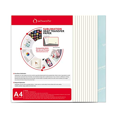 O BOSSTOP New A4 Sublimation Ink Transfer Paper 8.27 x 11.7 inches for Mug and T-shirt Suitable for All Inkjet Printers
