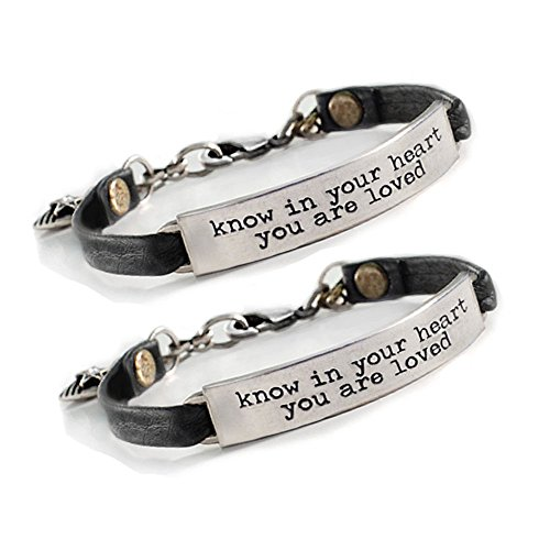 (Sweet Romance Inspirational Bracelet - Know in Your Heart You are Loved - Engraved Bracelet, Motivation - Gift for Women, Teens, Girls - Leather Message Bracelet or Bangle (Black Leather, Pewter))