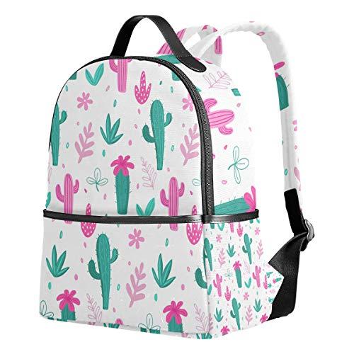WIHVE School Backpacks Cacti Palm Leavs Jungle Flowers School Shoulder Bag Bookbag -