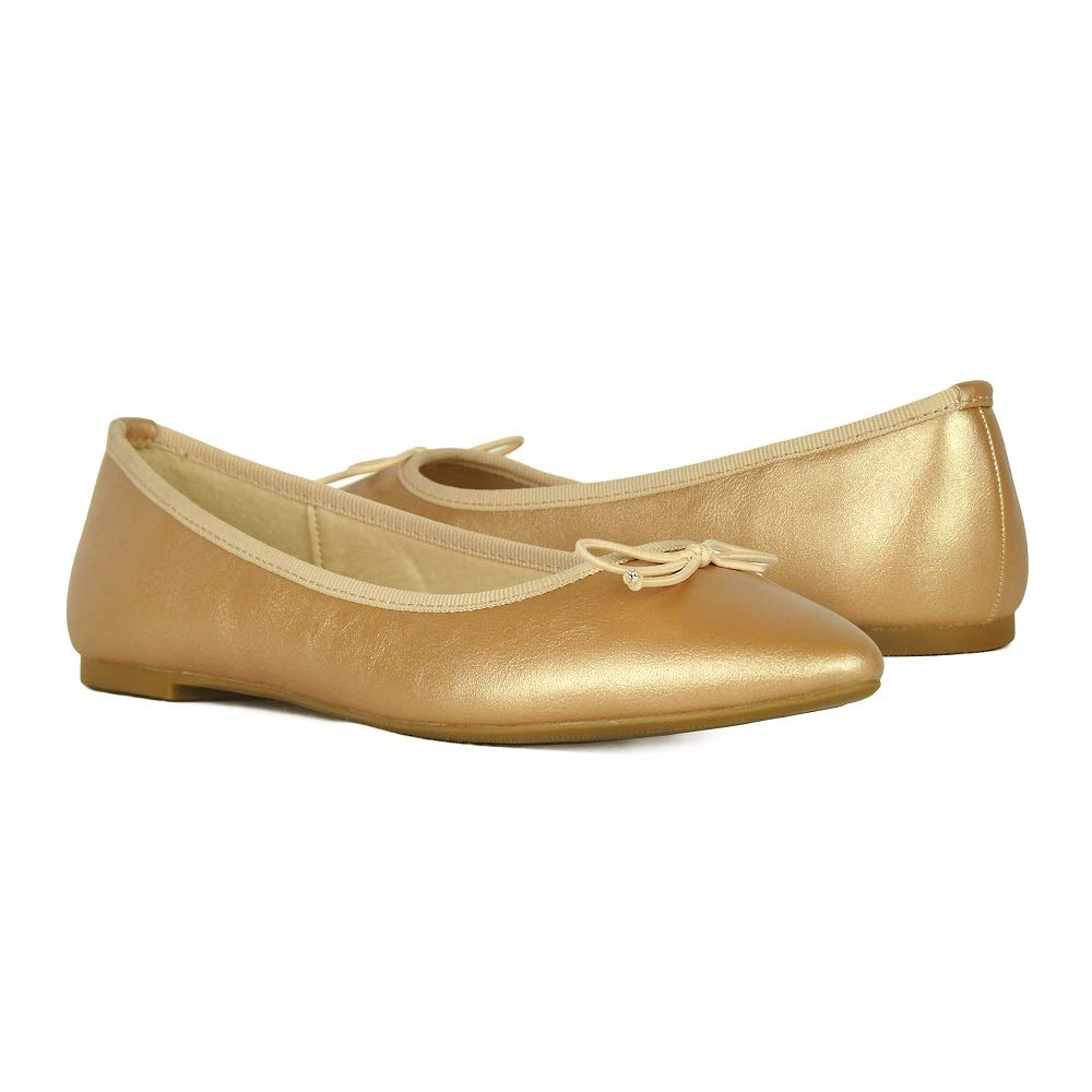 6d34252b96670 Women's Ballet Flats Shoes Comfort Pointy-Toe Soft Solid Light Dance Shoes  with Bow Tie JN1