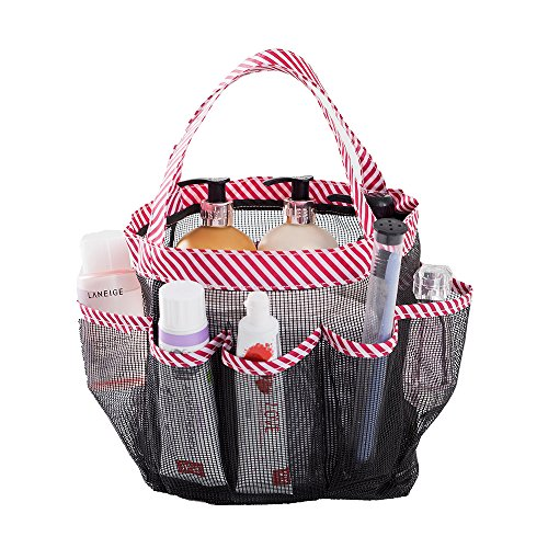 okroo shower tote with extra 9th pocket shower caddy organizer with quick dry, durable polyester mesh. ideal for college dorm, communal bathroom, gym, swimming pool, camping