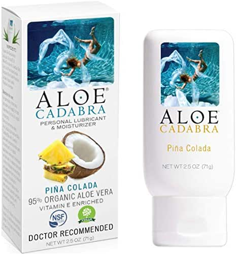 Aloe Cadabra Flavored Personal Lube for Oral Sex, Best Organic Edible Lubricant for Men, Women and Couples, Pina Colada, 2.5 Ounce