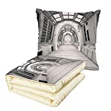 iPrint Quilt Dual-Use Pillow Outer Space Decor Spacelaunch View with Hypertech Energy Stellar Extra Solar Nuclear Trip Image Multifunctional Air-Conditioning Quilt White