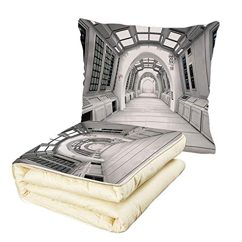 iPrint Quilt Dual-Use Pillow Outer Space Decor Spacelaunch View with Hypertech Energy Stellar Extra Solar Nuclear Trip Image Multifunctional Air-Conditioning Quilt White by iPrint