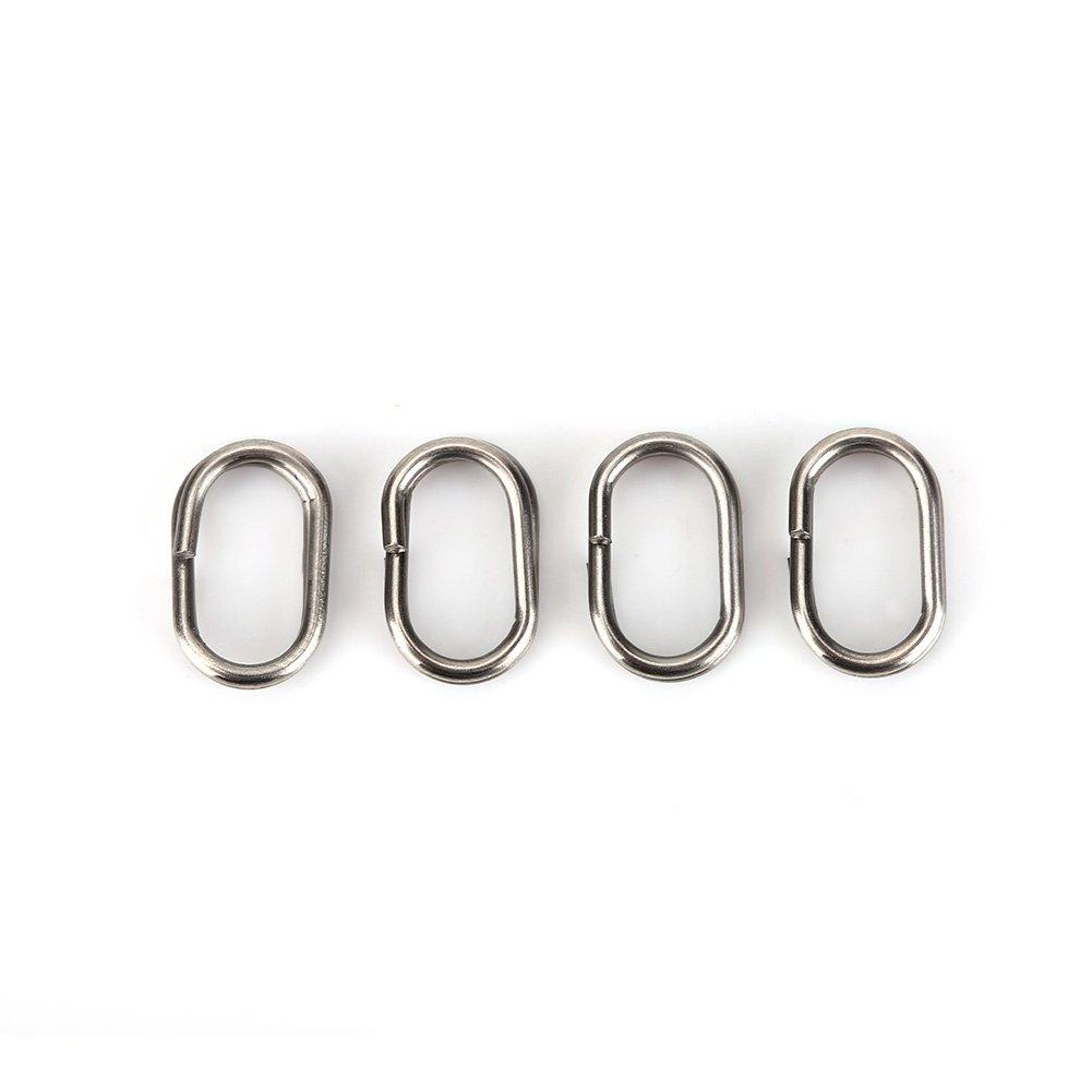 great-fyl 100pcs p/êche pivotant senclenche kit en Acier Inoxydable Ovale Anneaux bris/és pivotant encliquetable connecteur de p/êche