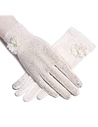 LERTREE 1 Pair Summer Women Sun UV Protection Lace Gloves Ladies Short Driving Gloves Touch Screen (White)
