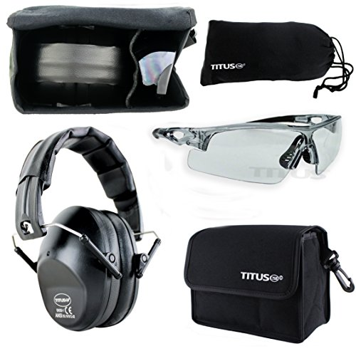 TITUS Earmuff/Glasses Combo - B2 Low-Profile Muffs & G Series Safety Glasses - Ear+Eye Protection Bundle (EarMuffs, Glasses, and Carrying Case) - Personal Safety, Shooting Gear, Portable Pouches